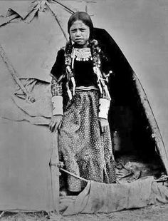 Flathead Indian Girl - No other information - Photoshopped b&w version.