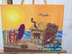 """""""Tiki Surf Shop"""" _SOLD Art  -  Email on Facebook: ratster.art@facebook.com"""