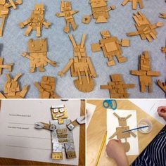 grade cardboard toy robots Art with Mr. Art 2nd Grade, Classe D'art, Recycled Art Projects, Recycled Materials, Cardboard Toys, Cardboard Playhouse, Cardboard Furniture, School Art Projects, Art Lessons Elementary