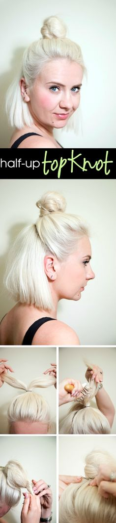 Half-Up Topknot for Shoulder-Length Hair