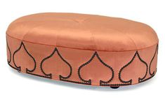 Raj Ottoman – 'spade' shape nailhead pattern 100% velvet. The colour was referenced as pumpkin (Barry Dixon)