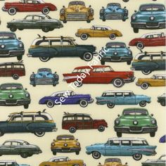 Retro Cars Cream Times of Your Life Collection  by SewTodayFabric, $4.75