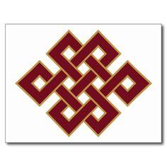 Shop Endless Knot Symbol Postcard created by SupportforTibet. Buddhism Symbols, Buddhist Teachings, Ancient Symbols, Buddhist Art, Tibetan Art, Tibetan Buddhism, Knot Tattoo, Chinese Patterns, Gelli Arts
