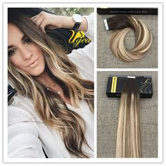 Balayage Highlight Medium Brown Medium Blonde PU Tape in Human Hair Extensions #Ugea