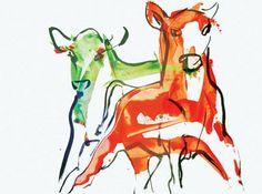 Miina Äkkijyrkkä Modern Art, Contemporary Art, Illustration Art, Illustrations, Jackson Pollock, Wassily Kandinsky, Marimekko, Figure Painting, Cows