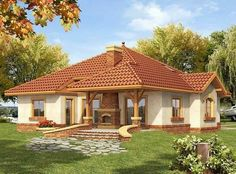 Single back Modern Bungalow House, Bungalow House Plans, Dream House Plans, Bedroom House Plans, Small House Plans, Beautiful Small Homes, Small Modern Home, House Design Pictures, Small House Design
