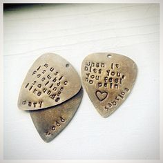 Hand stamped personalized guitar picks. Easy DIY gift idea.