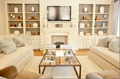 bookcases and tv