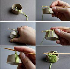 Tutorial Servilletero de Crochet con rollo papel higienico Diy Curtains, Sisal, Napkin Rings, Party Time, Knit Crochet, Napkins, Table Settings, Place Card Holders, Diy Crafts