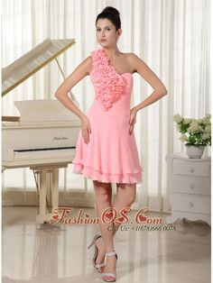 Hand Made Flowers Decorate Shoulder and Bust Watermelon Chiffon Pretty Homecoming Dress- $107.46