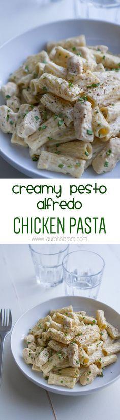 Creamy Pesto Alfredo Chicken Pasta... Creamy pesto is the best-o!