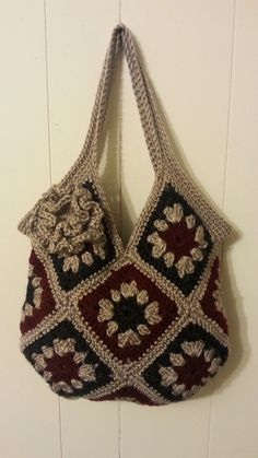 #Crochet 13 square granny square Handbag Purse #TUTORIAL