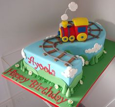 Number 2 Train Cake im getting this for my Tink Little Boy Cakes, Cakes For Boys, Fancy Cakes, Cute Cakes, Cake Cookies, Cupcake Cakes, 2 Birthday Cake, Number Cakes, Occasion Cakes