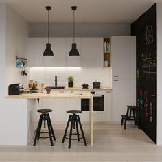 Minimalist Home With Kids Small Rooms minimalist kitchen decor concrete countertops.Minimalist Home Architecture Grey. Ikea Small Kitchen, Wooden Kitchen, Kitchen Living, Kitchen White, Ikea Metod Kitchen, Smeg Kitchen, Compact Kitchen, Buy Kitchen, Wooden Bar