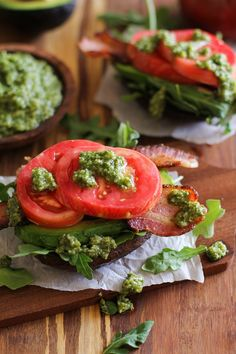 Roasted Portobello Mushroom Bacon, Lettuce,Tomato, Avocado open-faced sandwiches with  pesto sauce | TheRoastedRoot.net #paleo #healthy #recipe #lunch #glutenfree