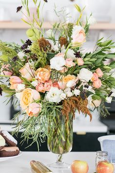 Stunning fresh floral arrangement from a Charming Pie Party on Kara's Party Ideas | KarasPartyIdeas.com (4)
