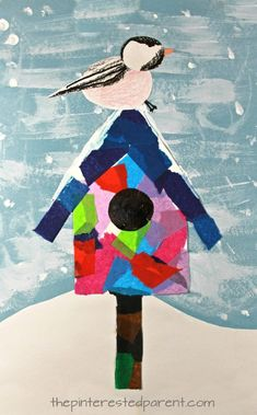 christmas art Mixed media art birdhouse with chickadee or a cardinal - Use tissue paper, acrylics, watercolors, crayons, markers or construction paper to build this pretty winter / Christmas scene. Kids and preschoolers arts and crafts Winter Art Projects, Winter Crafts For Kids, Projects For Kids, Kids Crafts, Winter Preschool Crafts, Winter Kids, Spring Crafts, Easy Crafts, January Art
