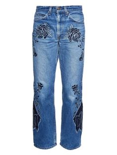 Shadows of Mountains embroidered relaxed jeans  | Bliss and Mischief | MATCHESFASHION.COM