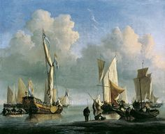 """""""Ships off the Coast"""", 1672, by Willem  van de Velde, the Younger. Hand-Painted  Art Reproduction"""