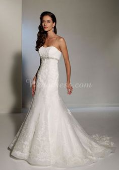 Court Train Embroidery  Draping Organza Empire Wedding Dress