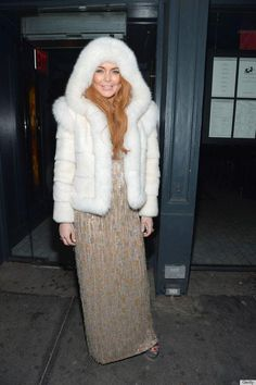 Fur Hag ~Animal Liberation Worldwide  What a disgrace to the human race. Lindsay Lohan see in New York donning a furry white coat at the   pro-animal testing amfAR (Aids Research) New York Gala in Manhattan Wednesday night.  (Just when I thought my respect for her couldn't sink any further!) She gets uglier every day - karma is a bitch.