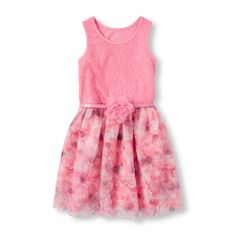 Girls Sleeveless Lace and Floral Print Flare Dress