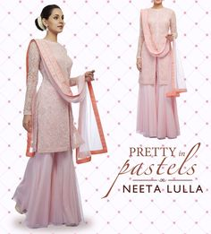 light pink lucknowi kurta worn with a pink net sharara and matching dupatta embellished with floral border and peach backing