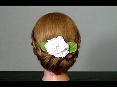 Прическа с плетением на средние волосы. Braided updo hairstyles - YouTube