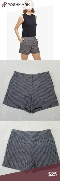 "Ann Taylor Blue Textured High Waist Shorts Women's Ann Taylor High Waist Shorts? 75% polyester, 24% rayon, 1% spandex Size 8 Gently used EUC?  Measurements laying flat:? Waist: 15.5""? Rise: 11.5""? Inseam: 6"" Ann Taylor Shorts"