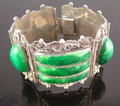 Chunky Sterling & Green Onyx Circa 1940's Bracelet