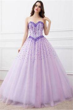 Ball Gown Strapless Lilac Tulle Taffeta Applique Draped Corset ...