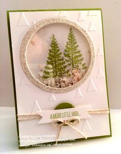 First Trees shaker by Jan McQueen,, Card stock: Pear Pizzaz, WW, silver Glimmer Ink: Pear Pizaz Stamps: Festival of Trees Access: BS, Circle Framelits, Itty bitty Banner Frameilts, On Point Ef, 1' Circle punch, Silver Twine, Multi Tombow, shaker framles, Tree punch
