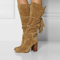 Shoespie Suede Lace-up Chunky Heels Knee High Boots