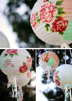chinese paper lantern decoupage cut out fabric flowers, another brilliant way to… - Paper Diy Decoupage Paper, Diy Paper, Paper Crafts, Chinese Paper Lanterns, Papier Diy, Garden Lanterns, Floral Hoops, Wedding Paper, Fabric Flowers