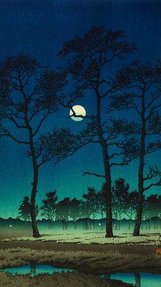 Kawase Hasui / Twelve Titles in Tokyo Winter Moon (Toyama-no-Hara) Toyama, Japanese Prints, Japanese Art, Tokyo Winter, Mont Fuji, Winter Moon, Art Japonais, Grand Palais, Of Wallpaper