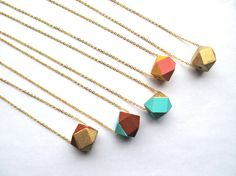 Bright Blue and  Clay Brown Necklace  Wood by HomeGrownIllinois, $20.00
