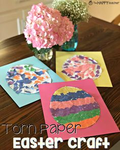Torn Paper Easter Craft: Cute and easy preschool and Kindergarten art project for Easter.