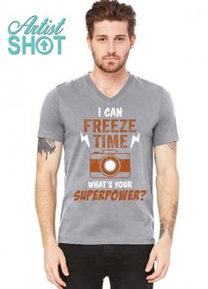 ff4dd7e7cd Buy your custom, modern fit v-neck with the awesome i can freeze time, what  is your superpower? v-neck tee by tshiart. get different colors and sizes  for ...