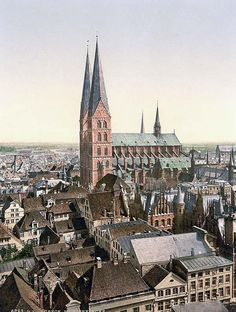 St. Marys, from St. Peters Clock Tower, Lubeck, Germany