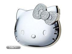 Hello Kitty Mini Compact Mirror Silver SANRIO JAPAN