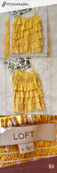 """Ann Taylor Loft M Yellow Ruffled Tank Flirty yellow white semi Sheer Ruffled Tank. Pit to pit measures 17.5 Length 26"""" Gently Used with no flaws Ann Taylor Loft Tops Tank Tops"""