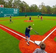 Backyard Sports, Backyard Baseball, Backyard Games, Backyard Ideas, Baseball Park, Baseball Field, Batting Cage Backyard, Batting Tee, Field Paint