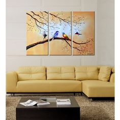 Colorful Birds' Hand-painted Oil on Canvas Art Canvas Oil Painting Title: Colorful Birds Product type: Hand-painted Oil on Canvas Style: Contemporary Love Birds Painting, 3 Piece Painting, Oil Painting On Canvas, Multiple Canvas Paintings, Bird Paintings, Colorful Paintings, 3 Piece Canvas Art, Diy Canvas Art, Triptych Wall Art
