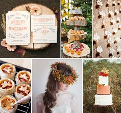 """Evermine #FallWedding Mood Board featuring our NEW """"Rustic Blooms"""" Stationery Collection in Tangerine. www.Evermine.com"""
