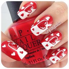 Hot Trendy Nail Art Designs that You Will Love Fancy Nails, Love Nails, Red Nails, Pretty Nails, Valentine's Day Nail Designs, Fingernail Designs, Nails Design, Valentine Nail Art, Holiday Nail Art