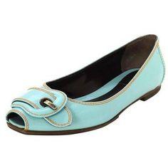 Preowned Fendi Light Blue Patent Peep-toe Flats Sz 37.5