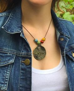 Around The World - Antique Bronze Disc Charm Four Bead Necklace