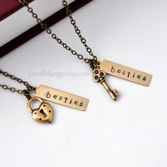 best friend necklace friendship necklace bff, key and lock necklace, gift for BFF, besties. $39.00, via Etsy.