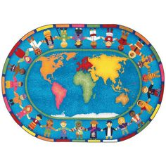Hands Around the World Classroom Rug 5'4 x 7'8 Oval - SensoryEdge