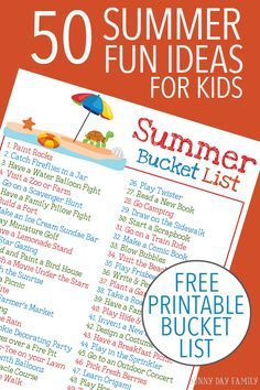 50 easy and fun summer activities for kids plus a FREE printable Summer Bucket List! Keep the kids entertained all summer long with this classic summer activities. Love these ideas for family fun!